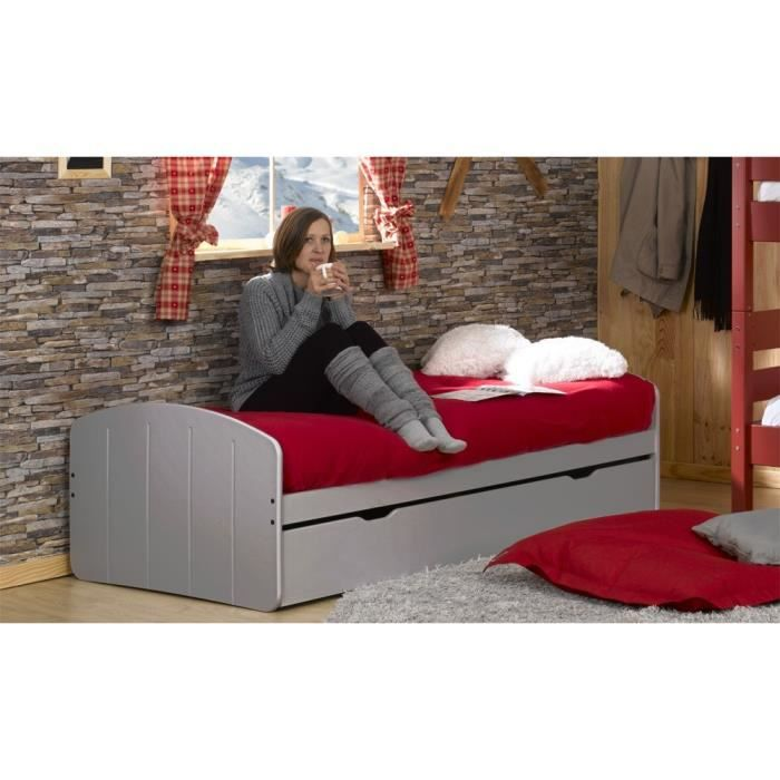 lit gigogne adulte 90x200 midi taupe achat vente lit gigogne cdiscount. Black Bedroom Furniture Sets. Home Design Ideas