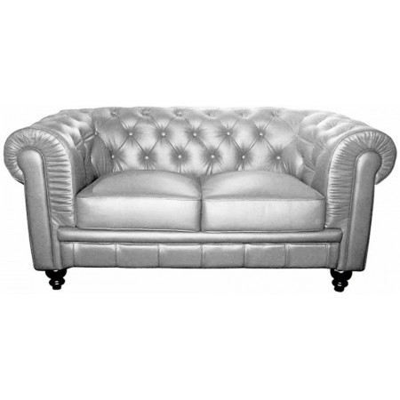 Canap chesterfield argent 2 places achat vente canap for Canape densite 35 kg m3