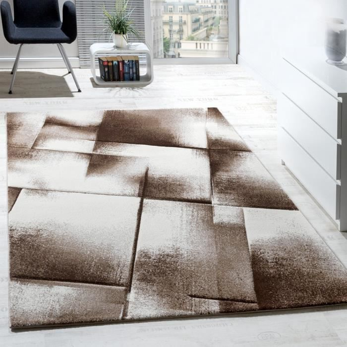tapis salon poils ras brun beige cr me chin 160x220 cm achat vente tapis cdiscount. Black Bedroom Furniture Sets. Home Design Ideas