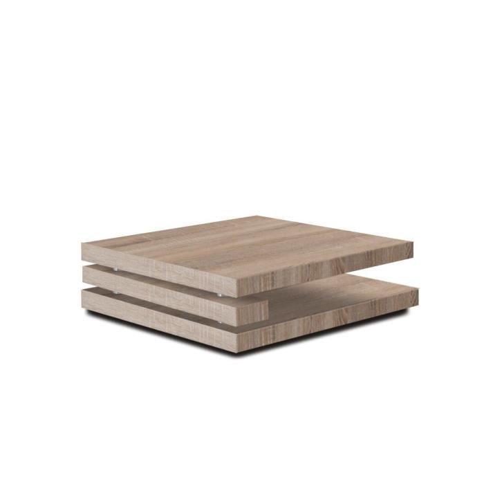 Table Basse Carree 100x100 En Mdf Coloris Sonoma Clair Achat