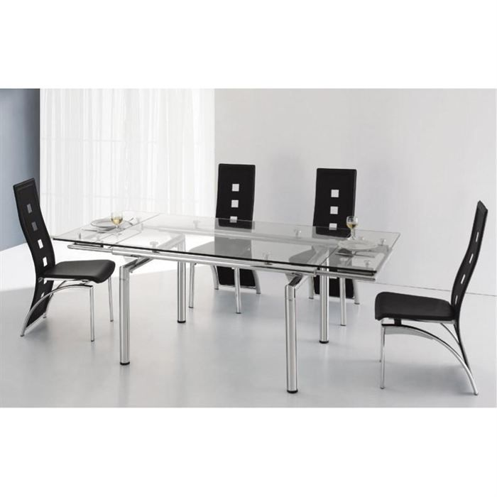 Table verre rallonge for Table tv en verre