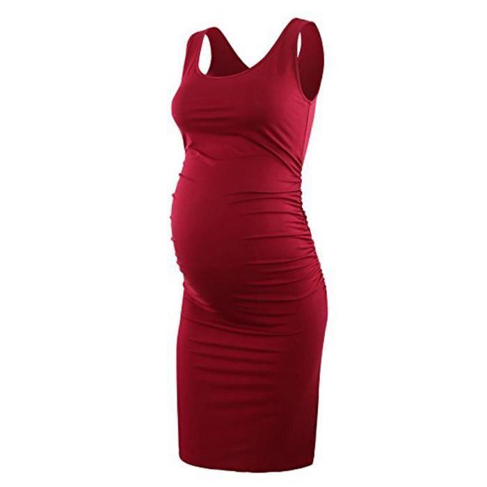 Robe Moulante De Maternite Froncee Pour Femme Robe De Grossesse Sans Manches Causale De Maman Rouge Rouge Achat Vente Robe Cdiscount