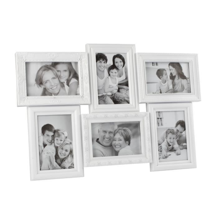 cadre photo p le m le 6 vues blanc achat vente cadre photo cdiscount. Black Bedroom Furniture Sets. Home Design Ideas