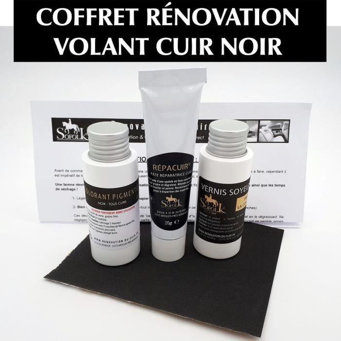 AutoFullCar Kit de r/éparation de volant en cuir Full Dip Noir