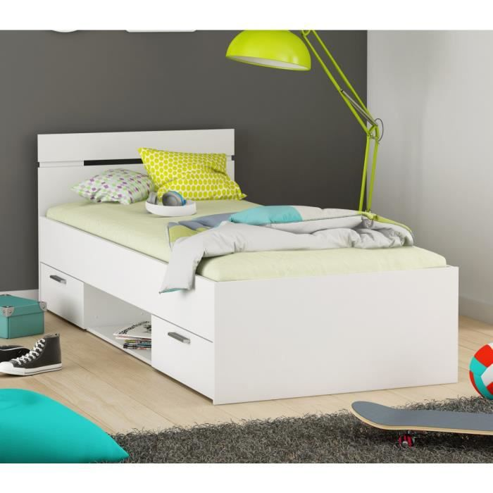 lit enfant tiroirs blanc perle 90x200 achat vente lit. Black Bedroom Furniture Sets. Home Design Ideas