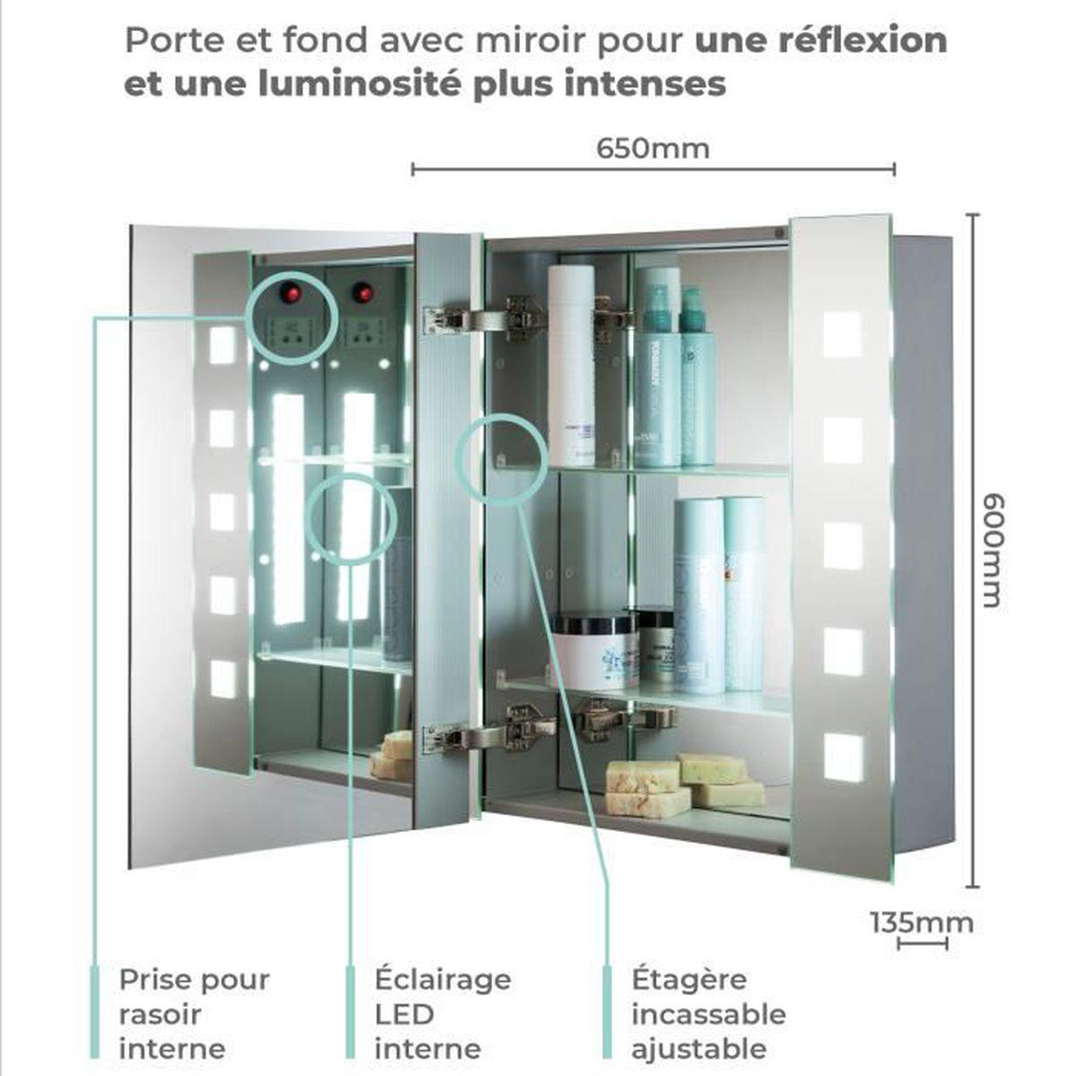 Meuble Haut Salle De Bain Avec Miroir armoire de toilette pour salle de bain avec miroir lumineux, antibuée,  prise pour rasoir, détecteur de mouvement et éclairage led
