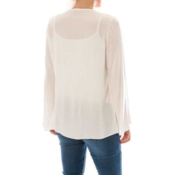 Broderie Couleur Top BleuTaille Unique Pink Blanc m8nNwvO0