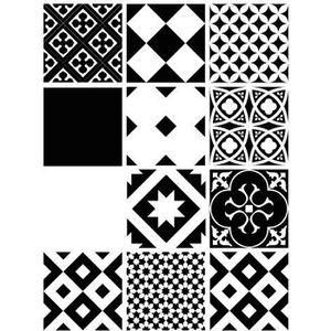 STICKERS Stickers Carreaux de Ciment - BLACK WHITE - 12 piè