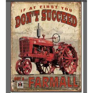 OBJET DÉCORATION MURALE Plaque métal Tracteur vintage   20 x 30 cm