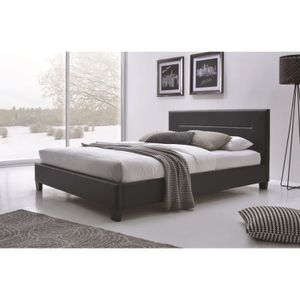 STRUCTURE DE LIT Lit adulte design MITCH noir en simili cuir 160x20