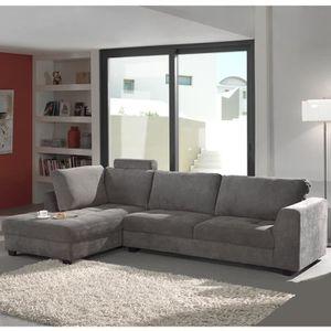CANAPÉ - SOFA - DIVAN Canapé d'angle gris en tissu ALTA - Gris Avec têti