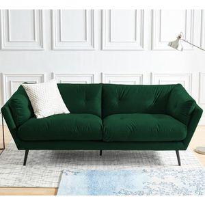 CANAPÉ - SOFA - DIVAN Canapé moderne 3 places en velours vert émeraude -