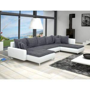 CANAPÉ - SOFA - DIVAN Canapé panoramique DANTE tissu gris foncé simili c