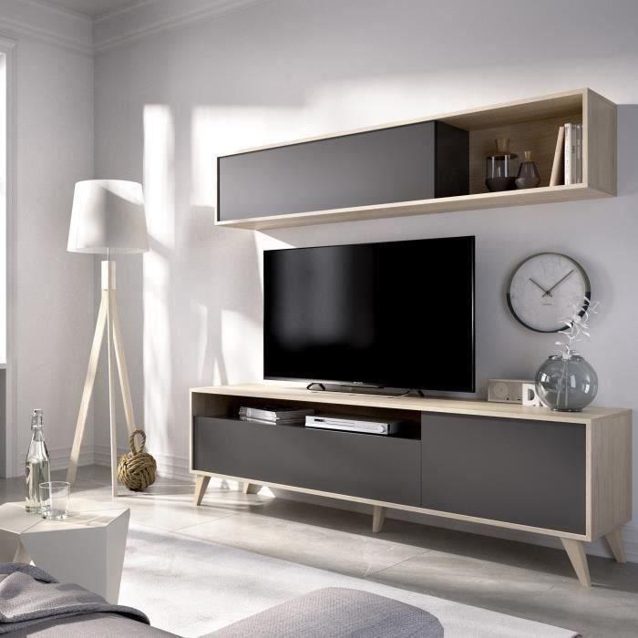 BONN Meuble TV avec étagére murale - Décor chêne et graphite - L 180 x P 41 x H 180 cm
