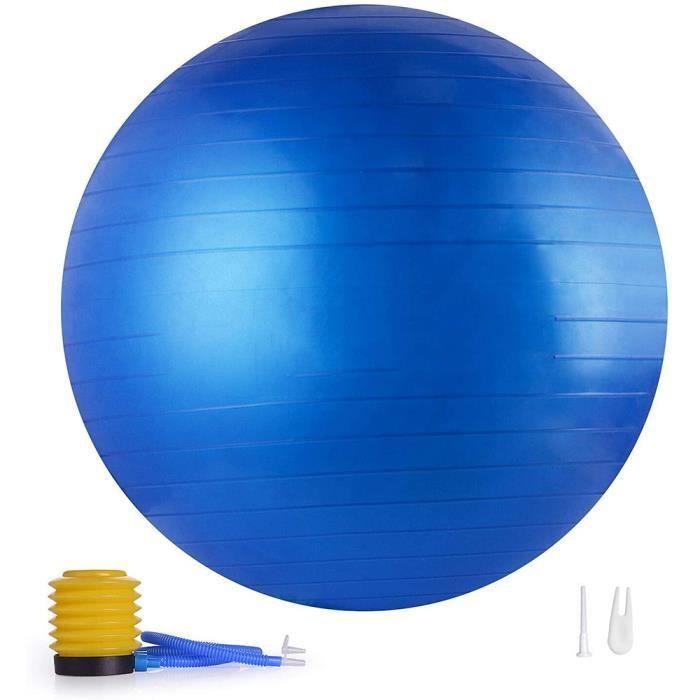 65cm Ballon de Gymnastique,Anti-éclatement,Boule d'assise,Balle de Yoga,Balles d'exercices Fitness,500kg,avec Pompe à air,bleu