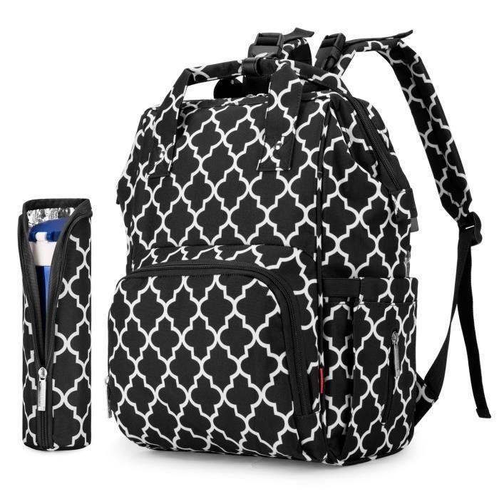 UtoteBag Sac à dos pour couches de bébé Sac à couches multifonctionnel avec port de charge USB, soins de bébé, noir