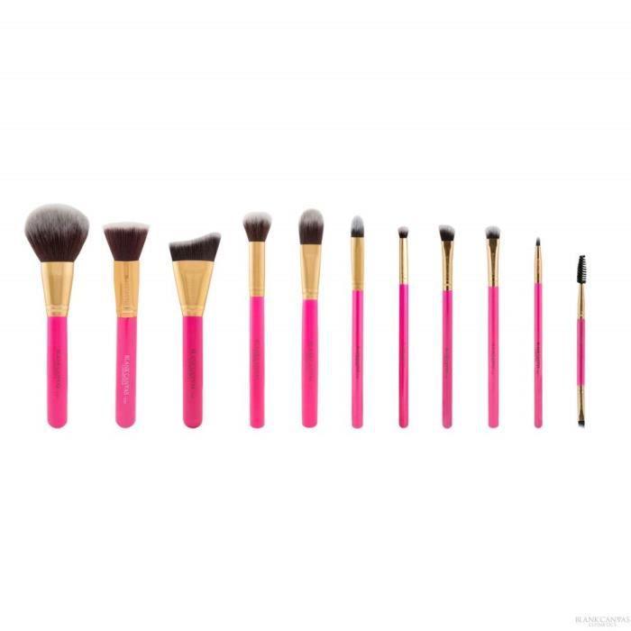 BLANK CANVAS Lot de 12 pinceaux de maquillage en toile vierge pour visage et yeux Rose vif/doré - BC12PCHPG