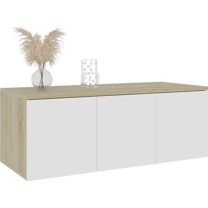 WIPES Meuble TV Design Contemporain Blanc et chêne sonoma 80cm Aggloméré