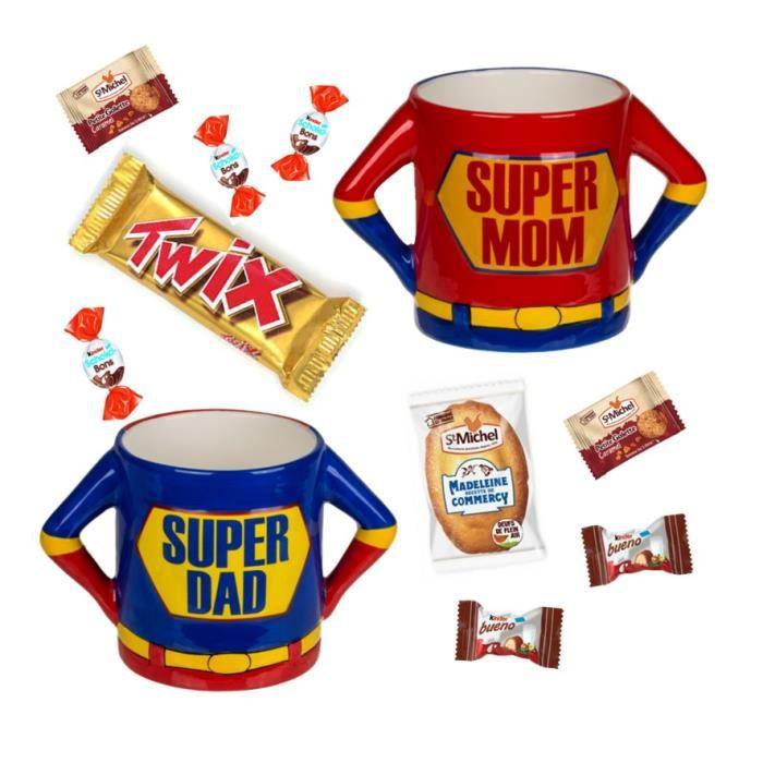 Lot de MUG SUPER DAD/ SUPER MOM garnis de Kinder Schokobons, Twix, galettes et madeleine St Michel, Nutella B-Ready - IDEE CADEAU
