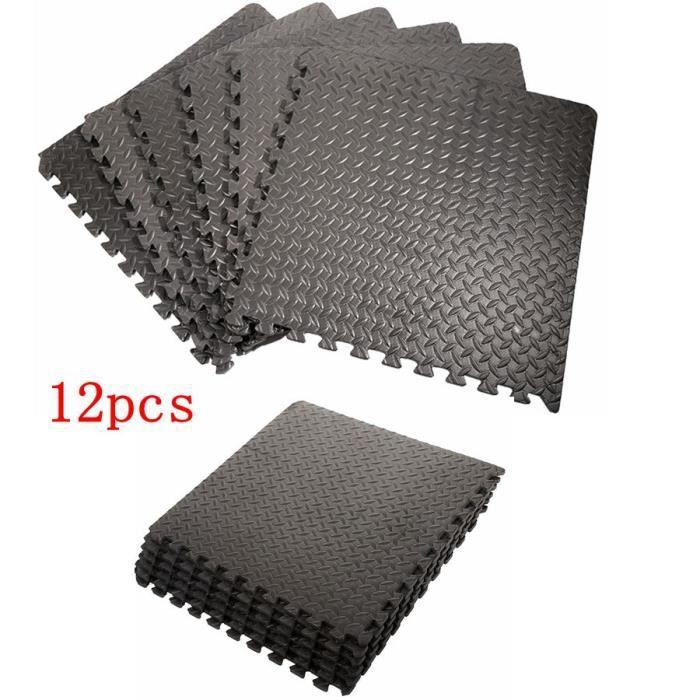 Ensemble de 12 Carrées EVA (motif de feuille) Tapis mousse de sol 63 x 63 x 1,2 cm, Noir Tapis de sol -12 Pcs / ensemble -63 x 63 x