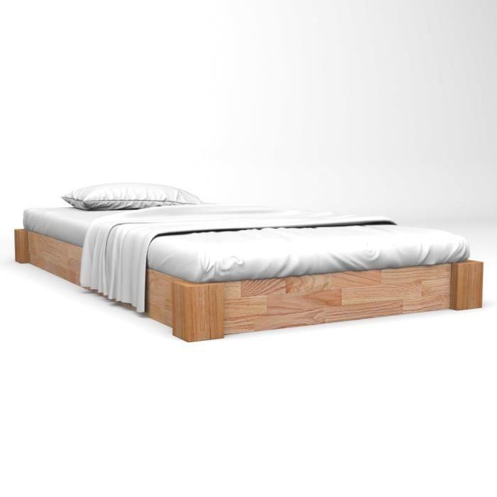 BEST - Haut de gamme Lit adulte Style Chic & Design: Simple - Structure de lit - 120x200 cm Bois de chêne massif 7121