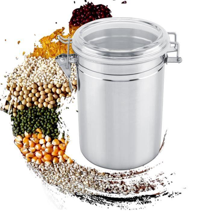 KAI Récipient à café, pot de stockage scellé sous vide en acier inoxydable pour grain de thé au sucre (1900 ml)