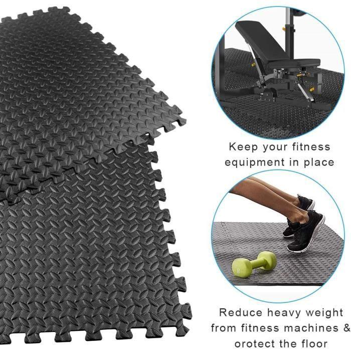 QIAN - 6pcs Tapis de Protection de Sol - Isolation Contre Coups, Bruits, Éraflures - Tapis de Fitness EVA Noir pour Gym Musculation