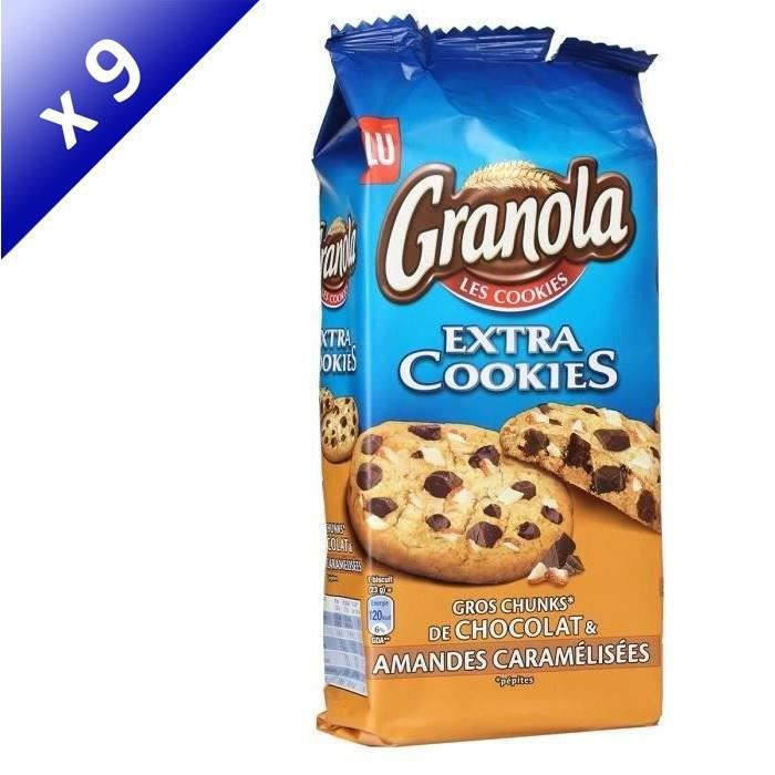 [LOT DE 9] LU Granola Extra Cookies Chocolat et amandes - 184 g