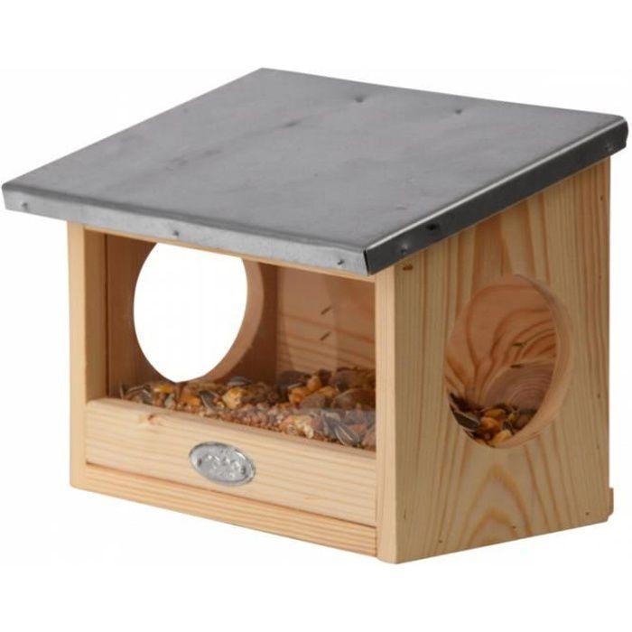 Décoration de jardin - Mangeoire écureuils - L 17,6 x l 25,3 x H 18,7 cm - Bois Marron