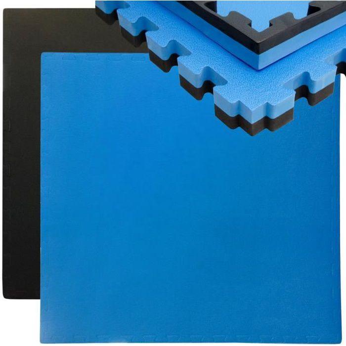Tapis Puzzle de Fitness Protection Sol de Sport 90x90cm Noir Bleu