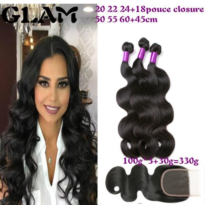 GLAM - (Free Part 18 closure 20 22 24) BRESILIEN Body Wave With CLOSURE Free Part