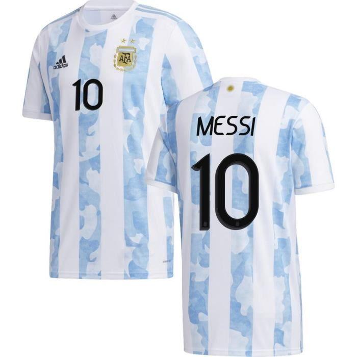 Nouveau Maillot de Foot 10 Lionel Messi ARGENTINE DOMICILE 2020 2021 Pas Cher pour Homme