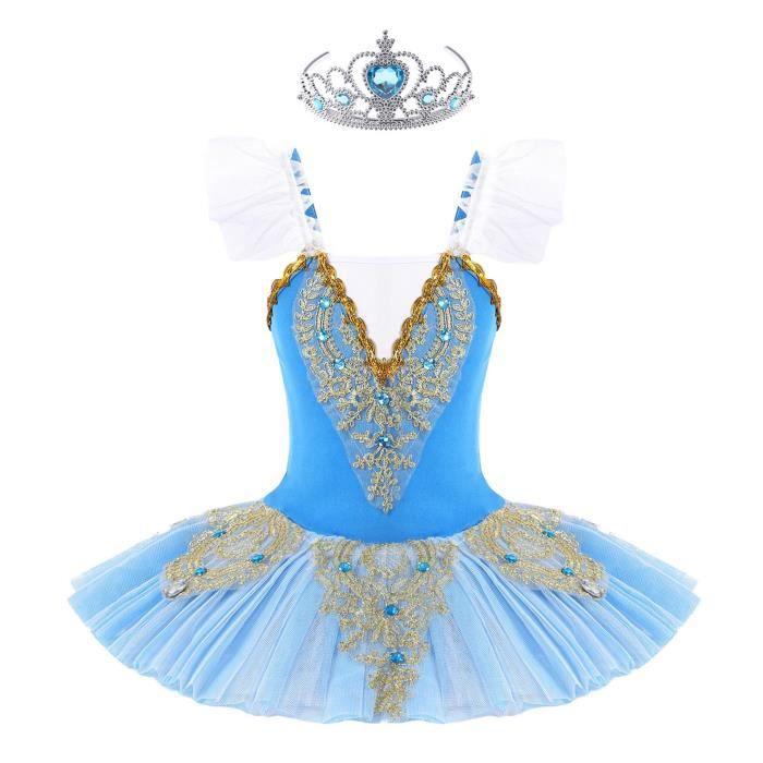 CHICTRY Enfant Fille Tutu Danse Classique Ballet Justaucorps sans Manches Volant 3-12 Ans Type B Bleu