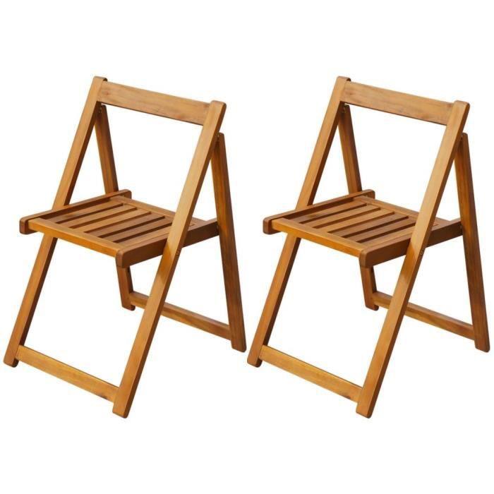 Chaise pliante d'extérieur 2 pièces Bois d'acacia