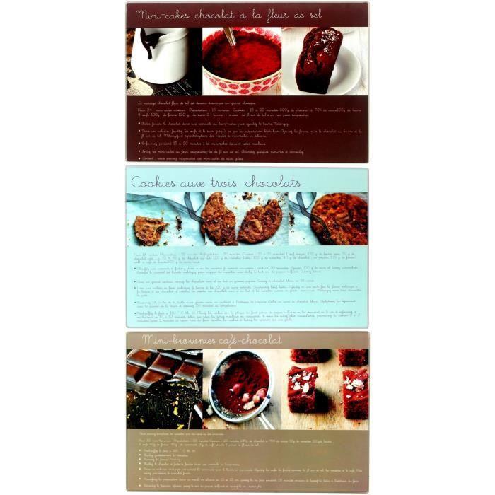 Lot 3 Planche A Découper Présentation Dessert Design Gourmand Recette Patisserie 20x30cm Noir