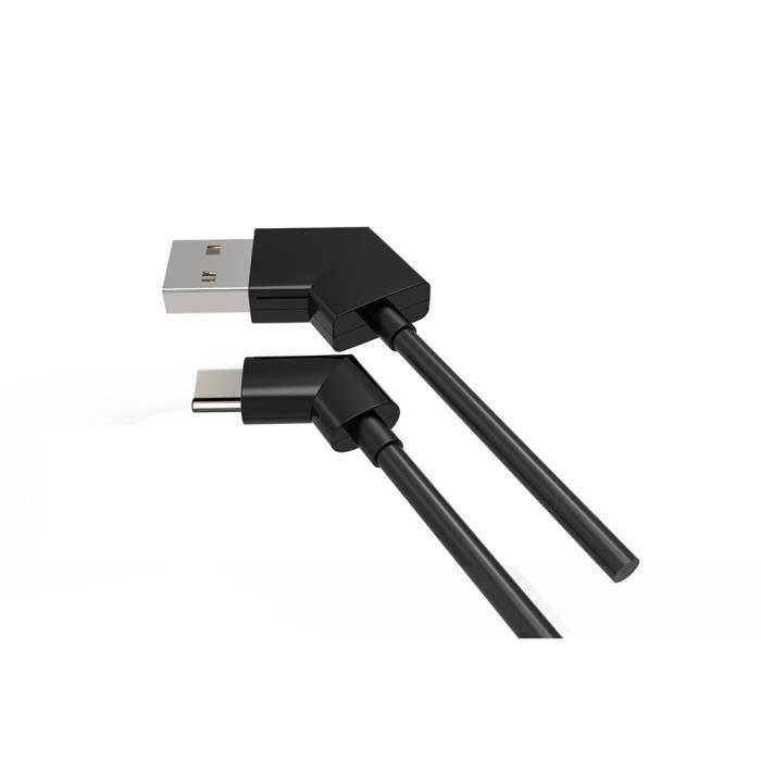 WE Câble USB C Coudé 1M - Connecteur Ultra Résistant - Charge Rapide - Recharge Manette et Portable - Noir