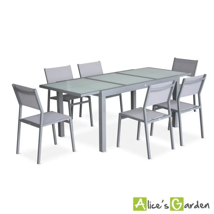 Salon De Jardin 6 Chaises Table Rallonge Extensible 150