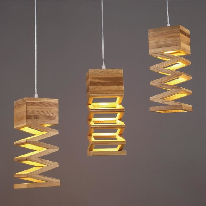 Moderne simple suspension bois lustre cr atif droplight for Lustre ou suspension