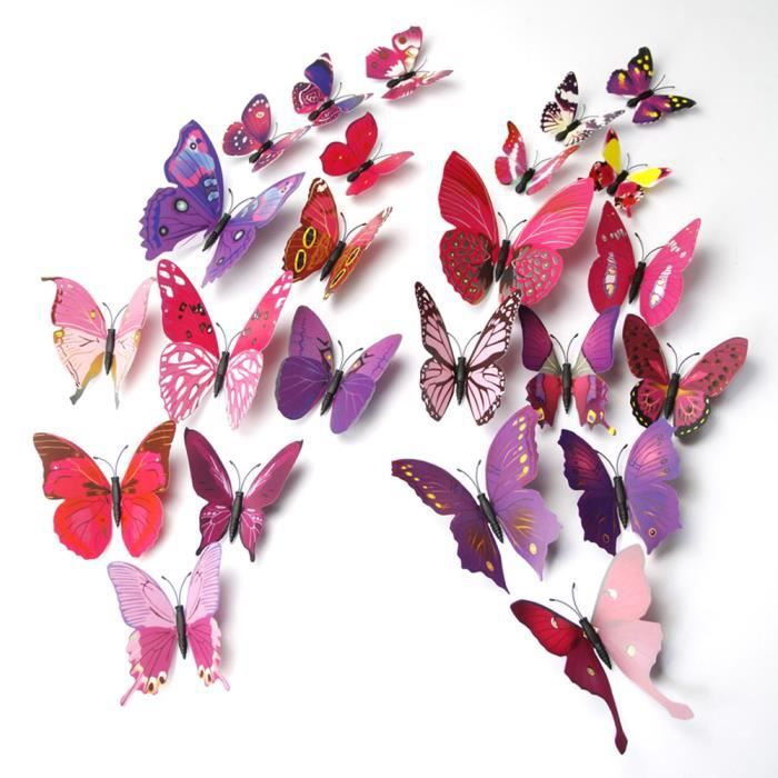 PEINTURE - VERNIS 12pcs stickers muraux de Papillons 3D(purple)