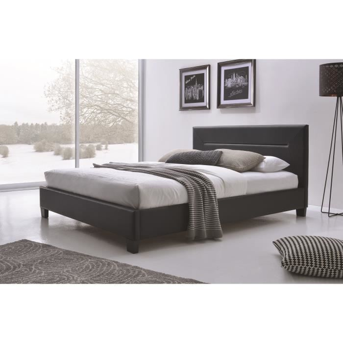 Lit adulte design mitch noir en simili cuir 160x200 cm - Chambre adulte cdiscount ...