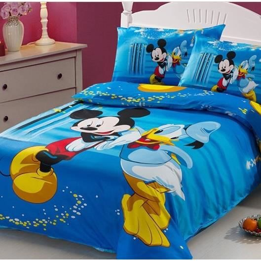parure 3d 1 personne twin mickey et donald achat vente parure de drap cdiscount. Black Bedroom Furniture Sets. Home Design Ideas