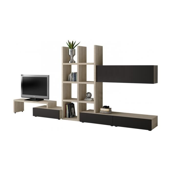 composition meuble tv et biblioth que ch ne gris achat vente meuble tv composition meuble tv. Black Bedroom Furniture Sets. Home Design Ideas