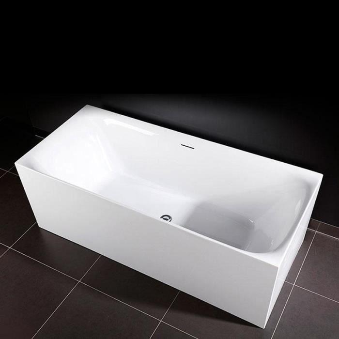 Baignoire Design Rectangulaire Roma Blanche 150 Cm Blanc Achat Vente Baignoire Kit Balneo Baignoire Design Cdiscount