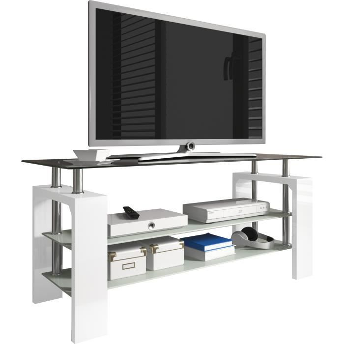 meuble tv design 3 plateaux en verre 110 cm coloris blanc laqu achat vente meuble tv meuble. Black Bedroom Furniture Sets. Home Design Ideas