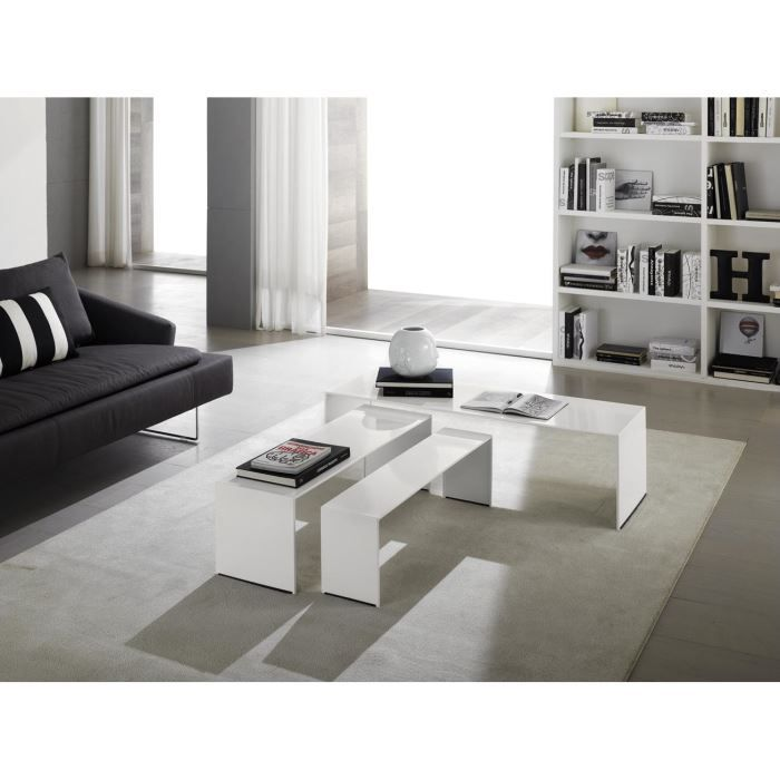 table basse gigogne design stripes laque blan achat. Black Bedroom Furniture Sets. Home Design Ideas