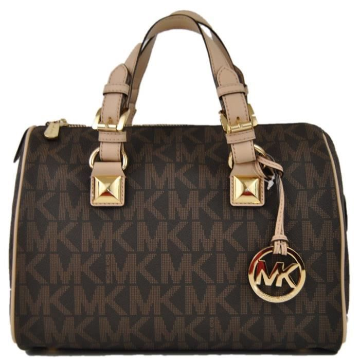 michael kors femme 39 s sac a main grayson medium satchel signature brown pvc achat vente. Black Bedroom Furniture Sets. Home Design Ideas