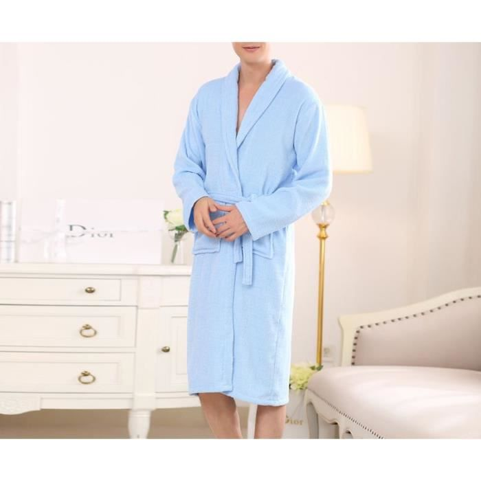 robe de chambre coton homme bleu clair achat vente peignoir cdiscount. Black Bedroom Furniture Sets. Home Design Ideas