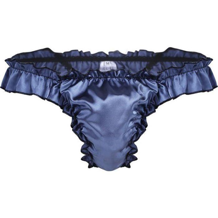 MEN/'S satin brillant à volants volants Slips Bikini Strings Culottes Sous-vêtements T Back