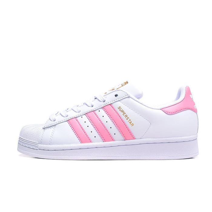 Baskets Adidas Superstar Junior Chaussures Femme Blanc/Rose