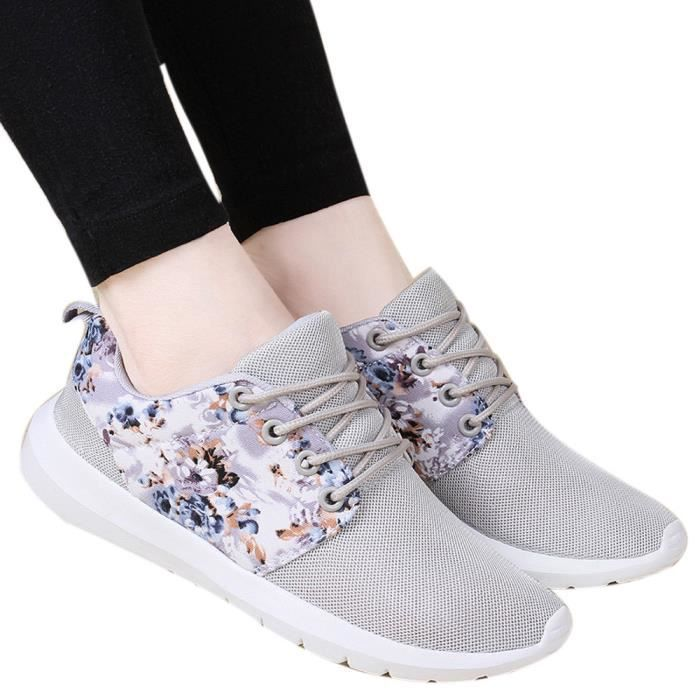 Casual Top 8310 Mesh Baskets Chaussures Fleur Imprimer Femme Respirant Low uji Gris ppxqwgX8